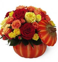 Fall autumn arrangement with three colored roses from online florist delivering to your front door.JPG