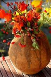 Fall fresh flowers arrangement with red flowers.JPG