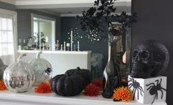 Halloween party decor ideas with artificial silver pumpkins and black pumpkins and black skull .JPG
