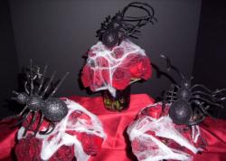 Spider flowers centerpieces perfect for halloween party.JPG