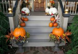 2015 front porch pumpkin flowers arrangements.JPG