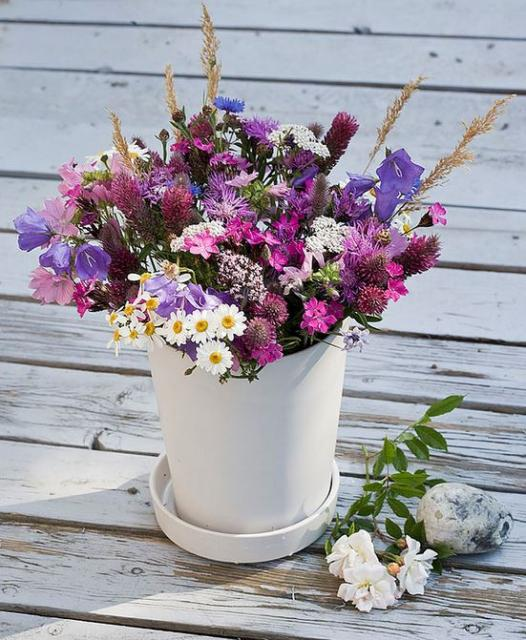 Purple Wedding Flowers Theme With Wild Flowers In Combonation Of