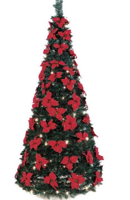 Christmas tree with silk poinsettias flowers  in red.JPG