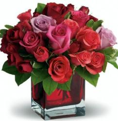 Online order Vanlentines flowers with roses in red, pink and purple