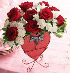 Valentines day flowers gift with white and red flowers with heart flower stand