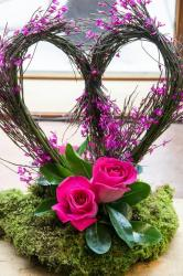 None traditional valentines day red flowers will be perfect with this heart shaped pink flowers