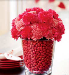 Valentines day centerpiece with red candy