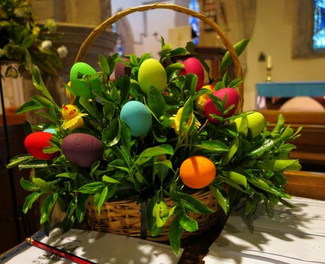 Colorful easter eggs gift basket picture