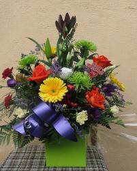 Big mother's day centerpiece with bright colorful flowers