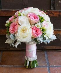 Jeweled bridal bouquet with pink flowers and white flowers