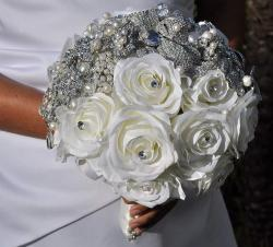 Wedding brooch bouquet with white crystal and white flowers