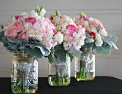 Wedding arrangements in glass jars