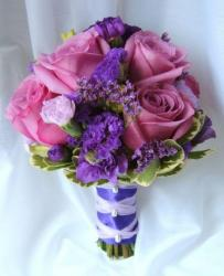 Purple wedding bouquet with flowers