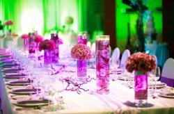 Trendy wedding table setting with purple theme colorq