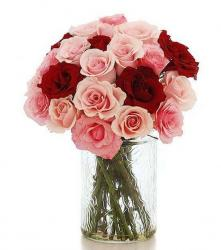 Elegant Valentine's Day Bouquet with Light Pink & Red Roses