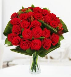 Red Roses Valentine's Day Bouquet with large green leaves