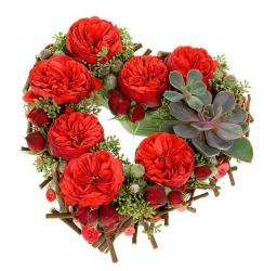 Valentine's Day Heart Shaped Flower Wreath with Red Flowers