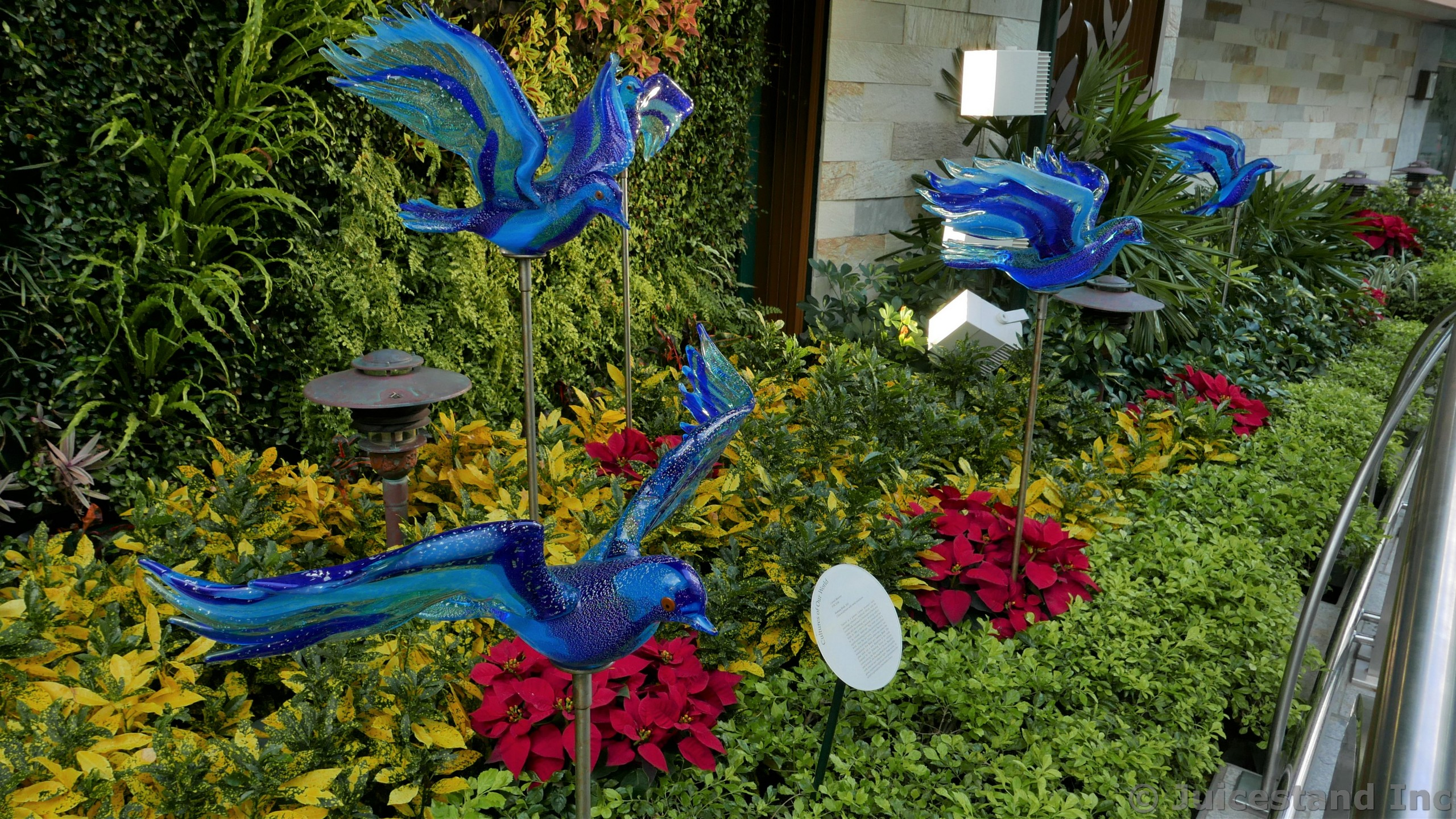Fantasy Birds Blue Glass Sculptures by Carmel Mooney at Central Park Allure of the Seas