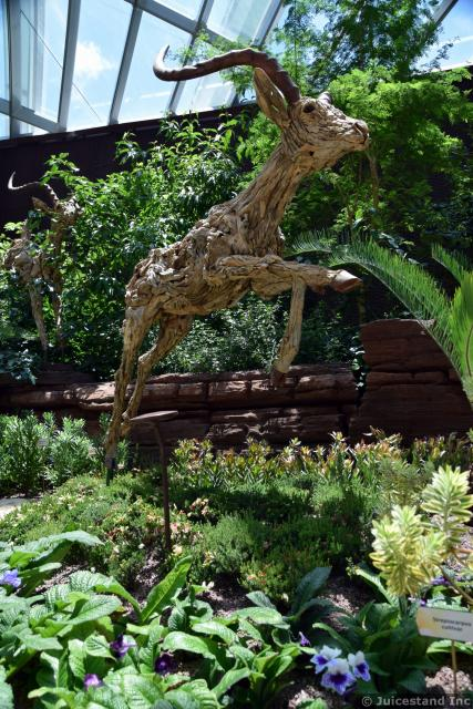 Deer Sculpture Carved Out of Wood at Flower Dome