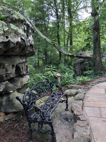 Bench on Trail of Rock City Gardens
