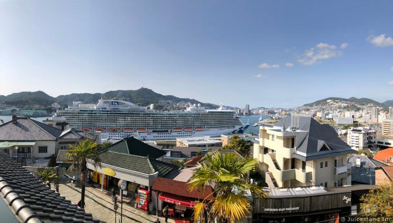 Nagasaki Skyline and Cruise Ship Majestic Princess