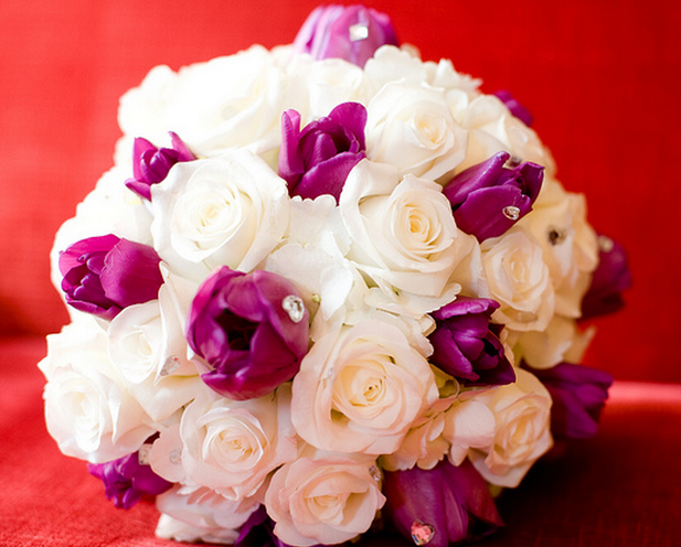 Picture of Wedding bouquet with white roses and purple tulips with rhinestones.PNG