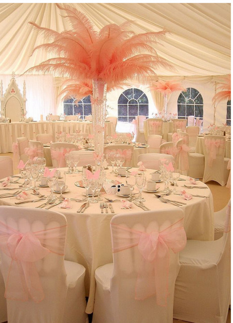 pink feather centerpiece for weddings png