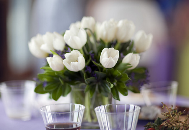 White tulips centerpiece pictures