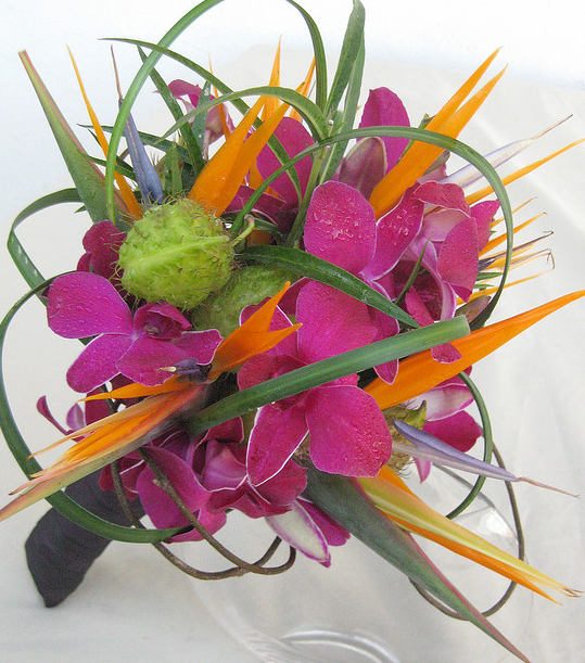 Tropical flowers wedding flowers in bright pink and orange.PNG