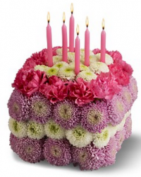 Sqaure fresh flowers birthday flowers shape cake.PNG