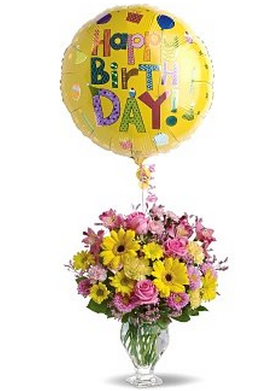Birthday Balloons And Fresh Flowers In Yellow PinkPNG