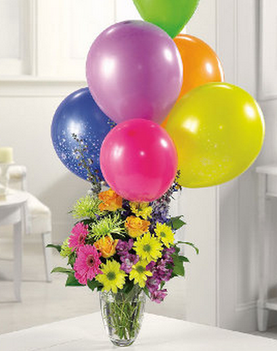 happy birthday images with flowers and balloons