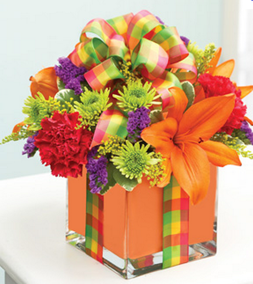Purple And Orange Flowers Birthday Png