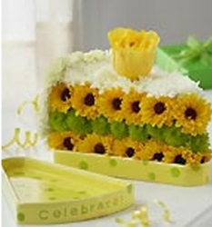 Cake slide fresh flowers for birthday with yellow and white flowers.PNG