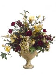 christmas silk flowers in red and gold.jpg