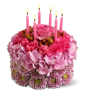 Three Tones Pink Fresh Flowers Bithday Cakes With Pink
