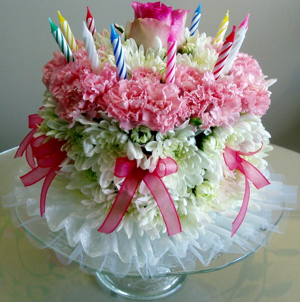 Birthday Cake Flowers With Pink And White Fresh Flowersg 4 Comments