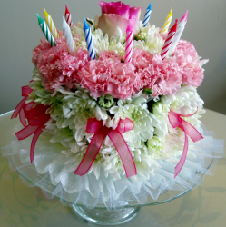 Birthday cake flowers with pink and white fresh flowers.PNG