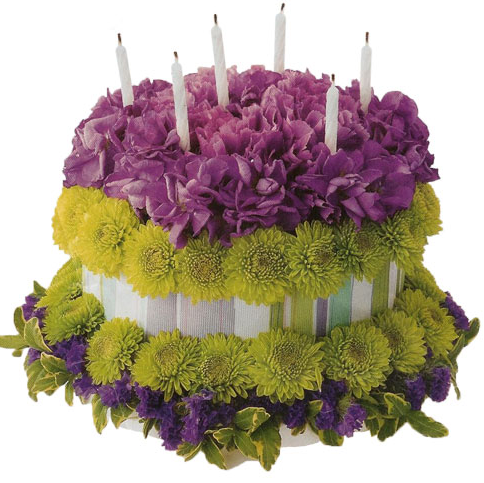 Fresh Flowers Cake For Birthday Full Of In Green And Purple Png