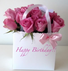 Pink fresh flowers birthday gift