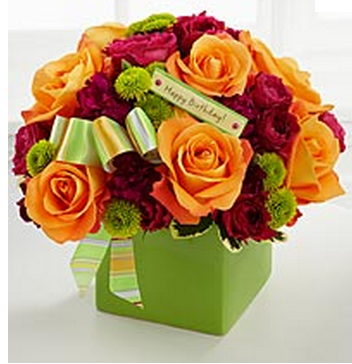 Modern bouquet pictures of birthday bouquet in green box.PNG