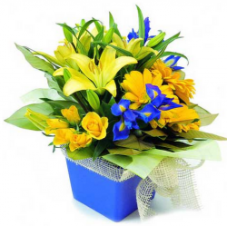 Yellow and purple flowers birthday arrangement pictures.PNG