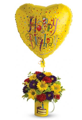 Yellow Theme Flowers With Heart Shaped Balloon Perfect