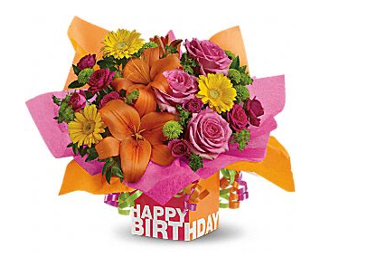 Birthday theme bouquet with pink, red, yellow and red_2013 bouquet.PNG