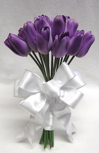 picture bridesmaid bouquet with dark purple tulipsjpg