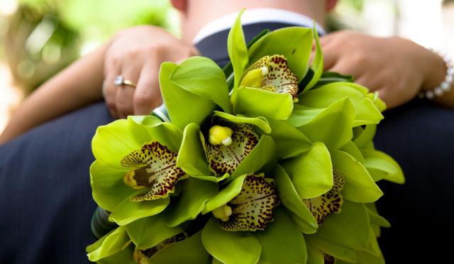 Green Cymbidium Orchid Bridal Bouquet PhotoPNG