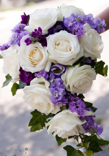 Purple Bridal Bouquets With White Roses And Purple FlowersPNG
