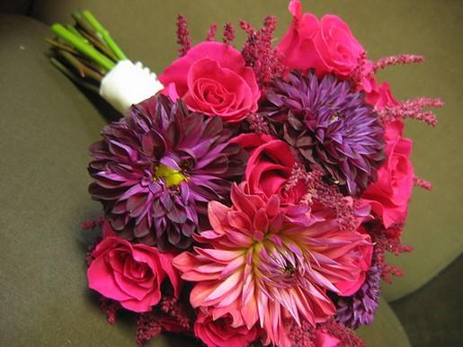 Purple And Bright Pink Dahlias Wedding Bouquet Pic Jpg