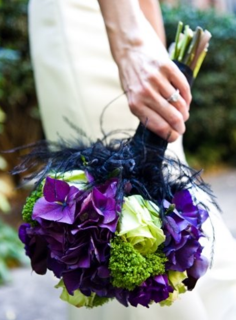 Dark purple bouquet with white green flowers.PNG