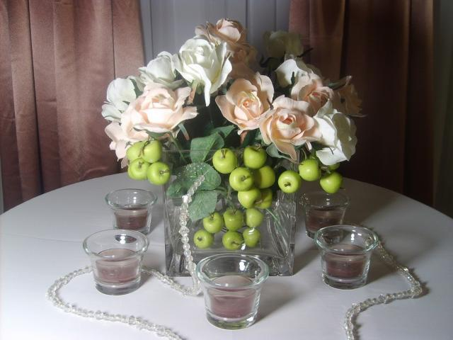 wedding center pieces ideas with fake flowers.jpg
